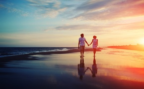 Picture waves, girl, love, beach, sky, sea, landscape, nature, woman, sunset, clouds, two, evening, man, boy, …