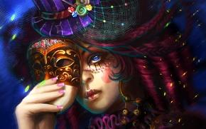 Picture hat, mask, Face, carnival, makeup, braids, manicure
