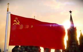 Picture future, movement, red, flag, Moscow, The Kremlin, red, chimes, USSR, communism, communism, 2.0, Moscow, banner, …