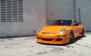 Wallpaper the building, porsche, wall, gt3 rs, GT3 RS, shutters, wheels, Porsche, orange, orange, 997, the ...