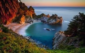 Picture sea, sunset, stones, rocks, shore, waterfall, Bay, horizon, CA, USA, Julia Pfeiffer Burns State Park