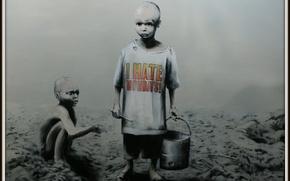Picture children, Banksy, Negros, Banksy, I hate mondays