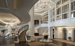 Wallpaper house, table, Wallpaper, Villa, interior, flooring, ladder, chandelier, wallpaper, fireplace, penthouse, apartment, expensive, penthouse, hall, ...
