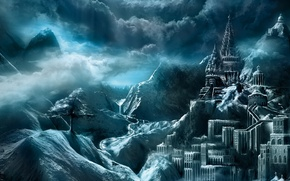 Wallpaper mountains, the city, castle, tree, fortress, fantasy world, heaven, clouds