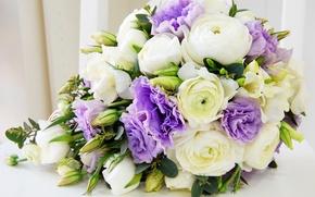 Picture bouquet, buttercups, eustoma, Bouquets, Ranunculus
