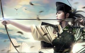 Picture girl, bow, Mario Wibisono