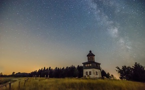 Picture tower, Milky Way, countryside