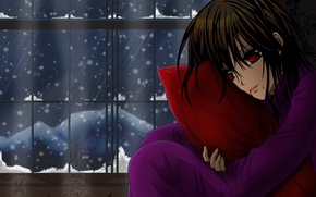 Picture winter, girl, snow, blood, Vampire Knight