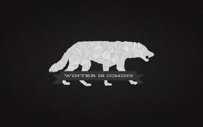 Picture A Song of Ice and Fire, Game of Thrones, gray, House Stark, darewolf, Winter is …