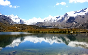 Picture road, the sky, clouds, snow, mountains, lake, reflection, people, tops