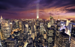 Picture the sky, clouds, light, night, lights, photo, road, home, New York, America, skyscrapers