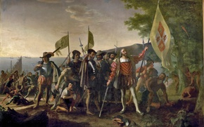 Picture picture, painting, painting, Landing of Columbus