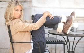 Picture girl, table, model, chairs, boots, actress, blonde, jacket, pants, Luisana Lopilato, Luisana Lopilato