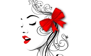 Picture face, style, vector, profile, bow, red lips