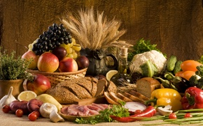 Picture wheat, greens, lemon, mushrooms, oil, food, bow, bread, grapes, meat, pepper, fruit, vegetables, peaches, plum, ...