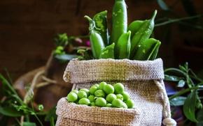 Picture peas, grain, bags, pods