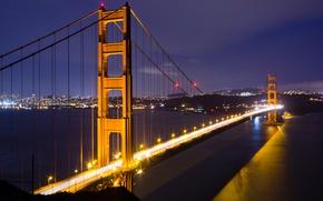 Picture night, San Francisco, bridge, night, San Francisco, Golden Gate, the Golden gate bridge