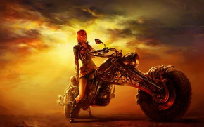 Wallpaper figure, the evening, girl, road, motorcycle, sunset