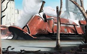 Picture Future, Ship, Slums, Couples, Art, Sci-Fi, Pipe