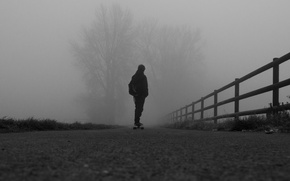 Picture road, autumn, fog, people, road, autumn, fog, Skateboard, longboard