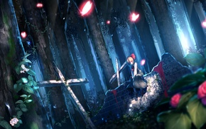 Picture forest, night, blood, cross, cemetery, red eyes, headstone, Touhou, Rumia, Project East