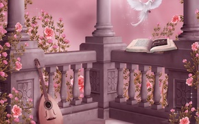 Picture flowers, music, dove, roses, music, columns, book, garland, flowers, book, dove, roses, pigeon, lute, columns, …