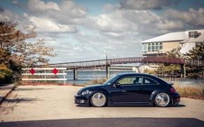 Picture beetle, Volkswagen, black, Volkswagen, Beetle, stance