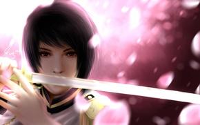 Wallpaper sword, katana, art, guy, japan, uniform, hetalia