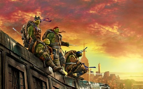 Wallpaper roof, the sky, the city, weapons, dawn, fantasy, four, glow, mask, poster, Raphael, Leonardo, Donatello, ...