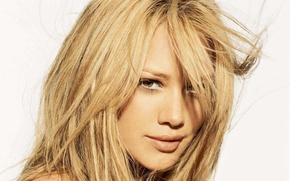 Picture look, smile, face, hair, white background, girl, lips, Hilary Duff