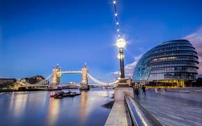 Picture night, bridge, the city, river, London
