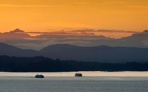 Picture sunset, Washington, ship, boat, Seattle, ferry, ferries, Bremerton, wa, ferryboats