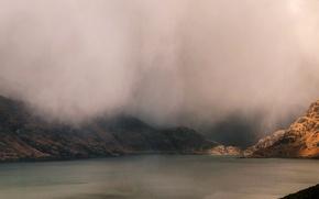 Picture mountains, lake, Scotland, obla