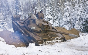 Picture winter, snow, USSR, tank, t-62