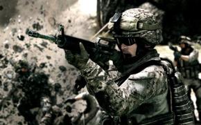 Picture weapons, soldiers, machine, battlefield, soldier, m-16