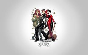 Picture fantasy, girls, art, background, comics, artwork, superheros, DC Comics, Catwoman, Selina Kyle, Harley Quinn, Poison …