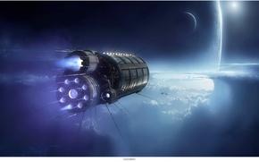 Picture space, Kassandra, star, spacecraft, planet