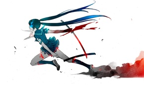 Picture katana, hatsune miku, black rock shooter, blood plus