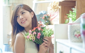 Picture girl, flowers, Asian