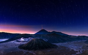 Wallpaper the sky, stars, night, the volcano, Indonesia, Bromo, Java, Indonesia, Bromo-Tengger-Semeru National Park