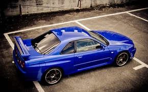 Wallpaper blue, Nissan, skyline, Nissan, blue, gt-r, r34, р34