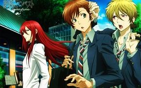 Picture street, tie, friends, three, art, green eyes, students, zetsuen no tempest, ren saizaki, yoshi'no taki …