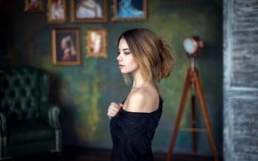 Picture room, model, portrait, Girl, the atmosphere, pictures, shoulder, Studio