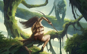 Picture girl, trees, plants, predator, Panther, bow, art, hunter