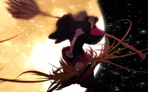 Picture girl, flight, night, the moon, hat, anime, art, witch, broom, tarbo, exxxpiation