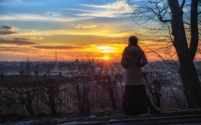 Picture girl, the sun, sunset, the city, view, Lions