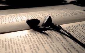 Picture text, headphones, book