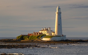 Picture sea, the sky, clouds, house, dawn, lighthouse