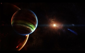 Picture space, space, stars, Planet, comet