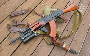Picture Board, AK-47, straps, cool, Kalashnikov, bayonet, made in Russia, grenade launcher